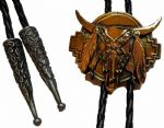 24ct Gold Plated Confederate Steer Skull Bolo Tie. Code BTWW18G